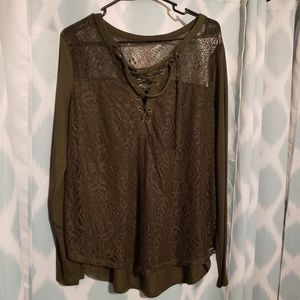 No Boundaries Olive Green Lace and Lace Up Top